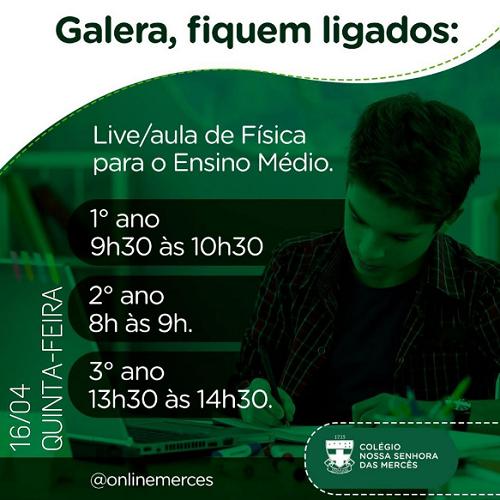 LIVE AULA DE FÍSICA PARA O ENSINO MÉDIO